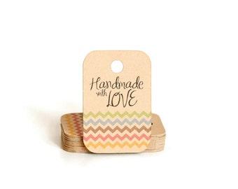 Chevron Hang Tags / Mini Gift Tags / Kraft Tags / Handmade with Love Gift Tag / Christmas Gift Tags