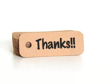 Thank You Tags - Thank You Gift Tags - Thank You Hang Tags - Mini Hang Tags - Kraft Tags