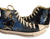 Nightwing Comic Book Character Super Hero Painted Canvas Sneakers (Complex)