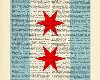 Chicago Flag Dictionary art Stars on Upcycled Vintage Dictionary Paper - 7.75x11
