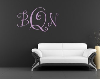 """Monogram Wall Decal Modern Style Approx. 24""""w x 15""""h- Vinyl Wall Art-vinyl decal  Over 60 color options"""