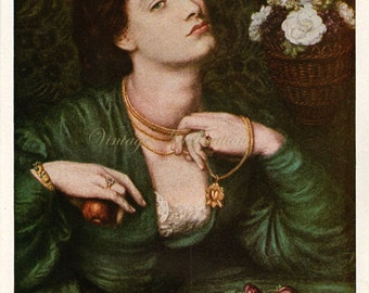 Antique Print 1920, MONNA POMONA by Rossetti, 1800s pre raphaelite, beautiful wall art vintage illustration turquoise