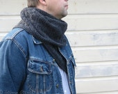 Dark gray scarf long hand knit scarf wool neck warmer unisex winter gift men boy teen women textured patern
