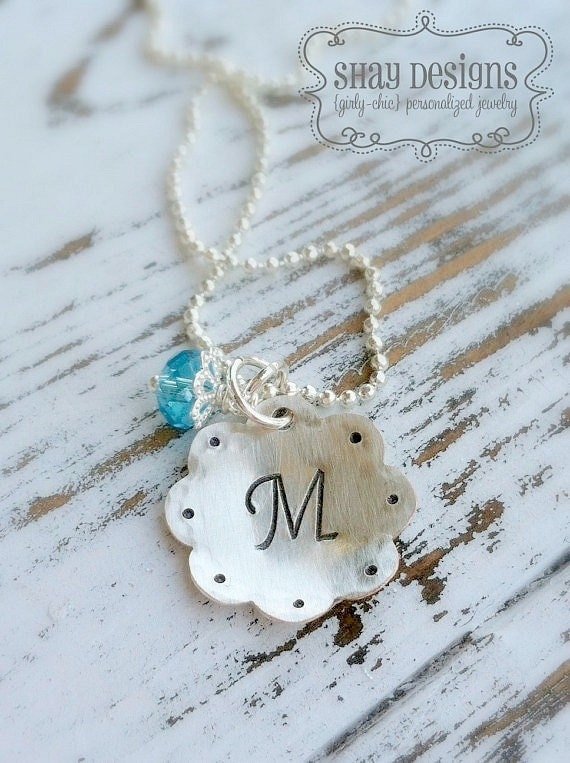 Personalized Initial Necklace Scalloped . Stamped Initial . Personalized Initial . Initial Necklace . Girl Necklace . Little Girl Necklace