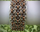 Wide Helm Chainmaille Bracelet - Silver and Bronze  - Ready to Ship