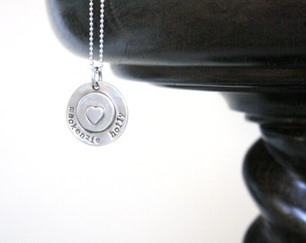 Hand stamped, personalized, tag necklace, Mom, Grandmom, sterling silver, gift