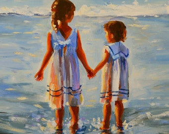 SPECIAL REQUEST PAINTING For Amy Small Painting Kids On Beach Custom Original