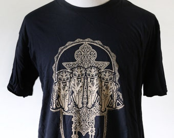 Sher Khamsa // Tigers with Hand of Fatima on Men's Black Tshirt //