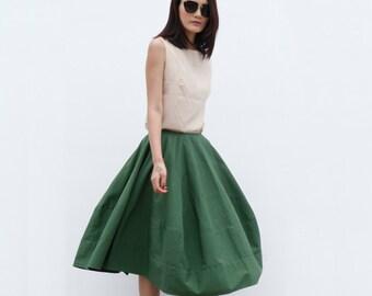 New Design Romantic Bud Skirt Cotton Skirt in Green - NC515