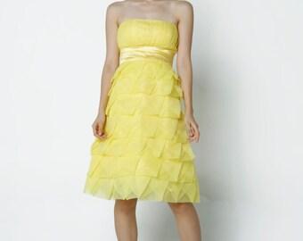 On Sale Size XXS Yellow Wedding dress/Tulle party dress/ bridesmaid dress/Prom/ handmade/ knee length formal dress - NC523-3