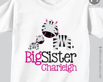 Zebra Big Sister Shirt or Bodysuit - Zebra Personalized Big Sister Shirt