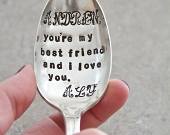 Love Letter Spoon - Hand Stamped Vintage Upcycled Gift - Birthday, Anniversary, Everyday Gift - Valentines Day