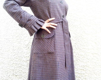Wool Dress Coat - a Handmade Light-Weight 100% Wool Plaid Coat