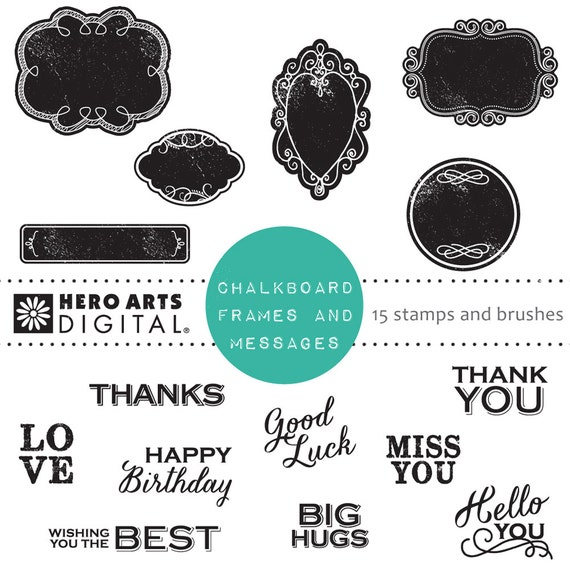 Hero Arts Chalkboard Frames& Messages DK113 Digital Kit Instant Download