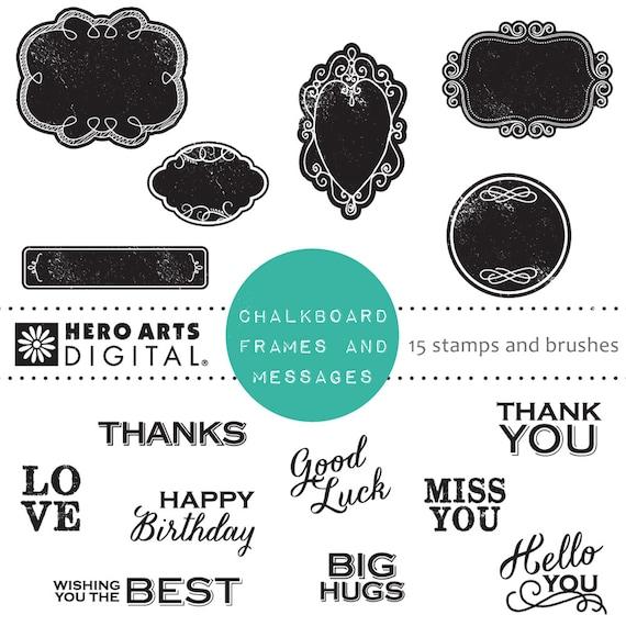 Hero Arts Chalkboard Frames& Messages DK113 Digital Kit Instant Download
