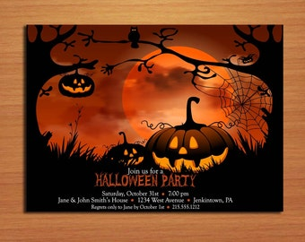 Spooky Pumpkin Patch Halloween Party Customized Printable Invitations /  DIY