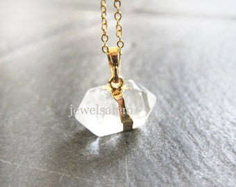 Clear Quartz Necklace Gemstone Gold Long Layered Chain Crystal Nugget Hexagon Geometric Raw Mineral Stone Pendant Rock Natural Mineral