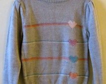 80s Hearts & Stripes Boatneck Sweater S 34 Bust
