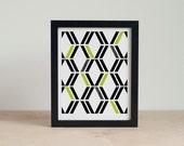 LAST CHANCE - Retro Geometric Art - Diamond Art Print - Green and Black Artwork - 5x7, 8x10 Wall Art