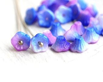Small Bells, Flower beads, Blue Pink, czech glass beads, flower cups, blue flower, 7x5mm - 25Pc - 1446