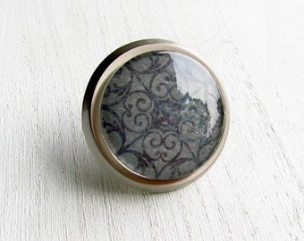 Grey Cabinet Drawer Dresser Knob Filigree Glass and Metal Knob