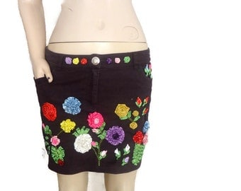 Recycled Cotton Skirt -  Embroidered Flower Skirt  - Upcycled  pants skirt ,beach cover up,Cover Up Skirt - Handmade