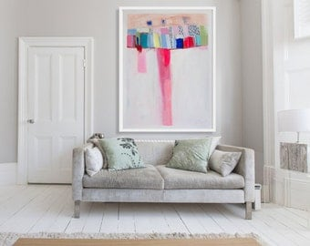 "ABSTRACT painting, Giclee, Fine Art Print, white painting, pink, modern painting ""Diversion"""