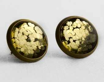 Gold Chunky Glitter Post Earrings in Antique Bronze - Bright Gold Mixed Hexagonal Glitter Stud Earrings