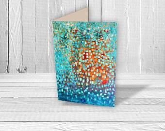 Greeting Card - Abstract Art Greeting Card - Birthday Card - Turquoise & Orange Greeting Card