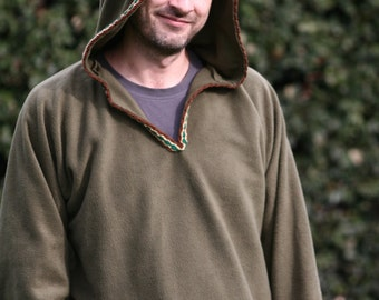 Ready to ship XXL - Hoodie for Men in khaki green-  Medieval hoodie - elven hoodie -Psy clothing- pointy hood