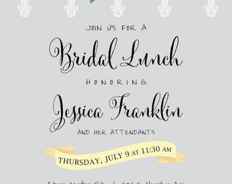 Bridal Lunch Invitation - Flowers and Lace