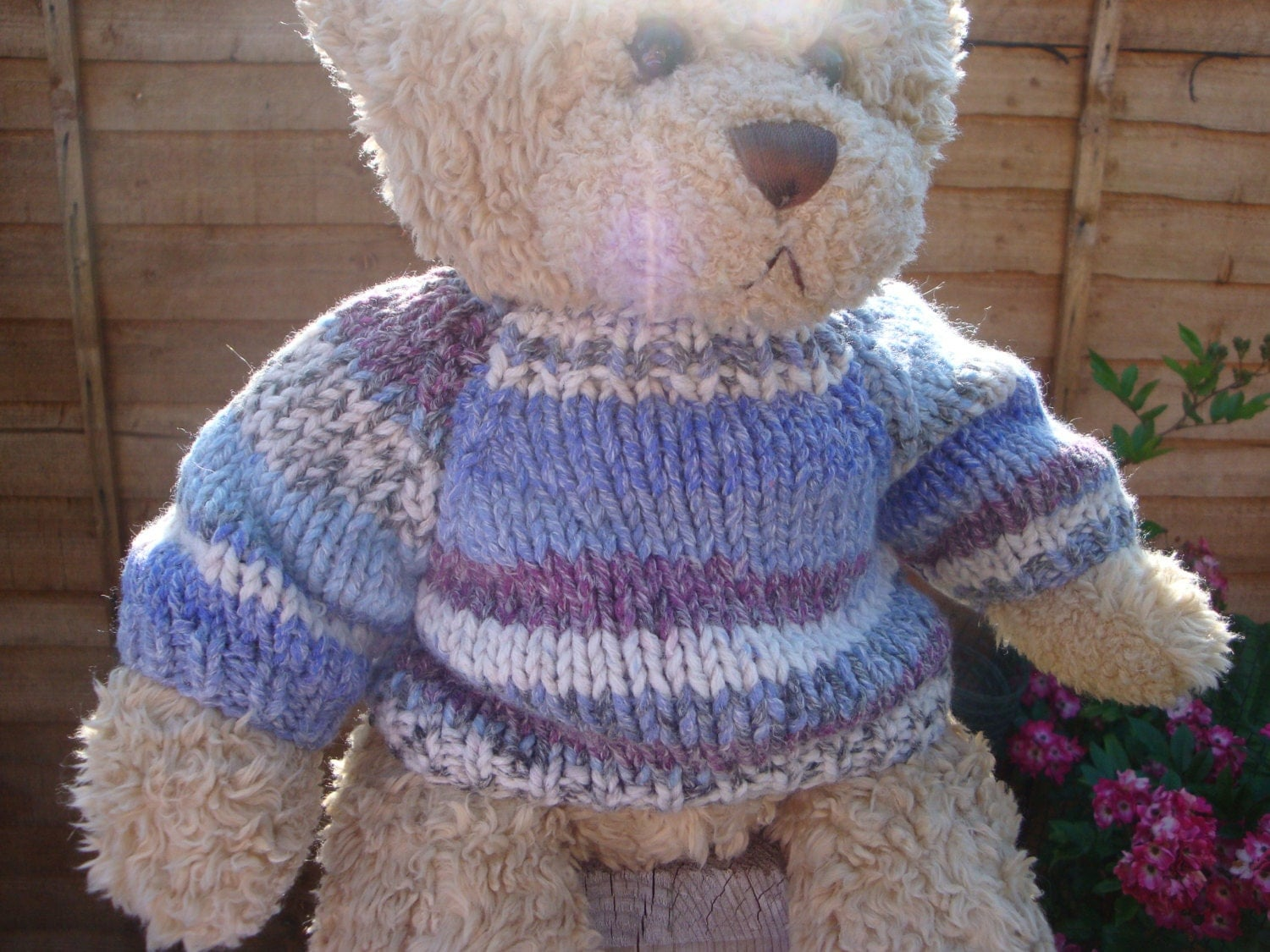 Chunky Teddy Bear Sweater Hand knitted Fair Isle fits