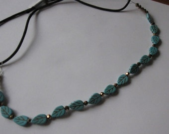 Turquoise Blue Leaf Gold Crystal Beaded Elastic Headband, for weddings, parties, special occasions