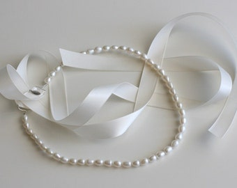 Ivory Pearl Halo Headband with Ivory Satin Ribbon Tie, for Bridal, weddings, bridesmaids, parties, special occasions