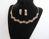 1950's Gold Mesh and Rhinestone Choker Necklace and Earrings