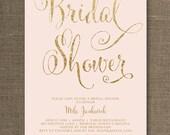 Blush Pink & Gold Bridal Shower Invitation Glitter Pastel Wedding Hens Party Script Modern FREE PRIORITY SHIPPING or DiY Printable - Mila