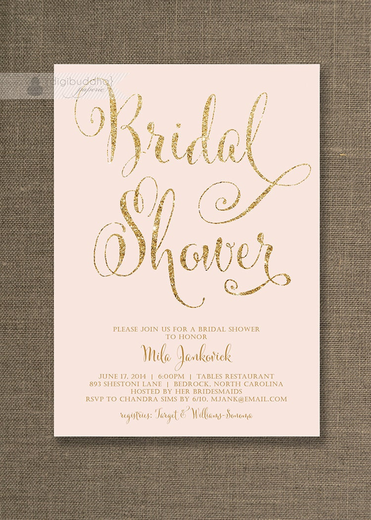 Wedding Shower Invitations Printable Rustic Floral Bridal Shower