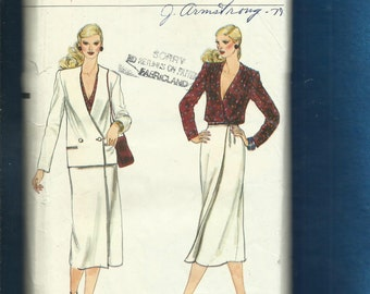 Vintage 1980s Vogue 7434 Straight Wrap skirt & Double Breasted Cardigan Neckline Jacket Size 14