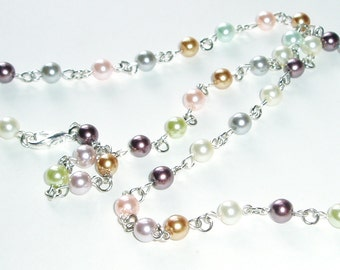 Pretty Pearl Beaded Lanyard - Shell and Pastel Colored Pearls Bead ID Badge Teacher Lanyard