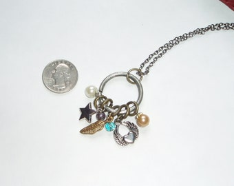 Fun Charm Collection on Long Chain - Antique Brass and Silver Heart, Angel Wings and Colorful Beads on Long Brass Chain