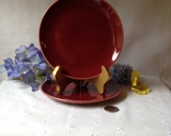 Vintage Pottery Bread Butter Plate in Burgundy marked Universal Oven-Proof Ballerina