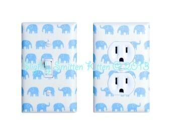 Light Blue Elephant Light Switch Plate & Outlet Cover SET OF 2 / Baby Boy Nursery Decor / Japanese Kawaii / Kids Room / Tiny Tip Top Fabric