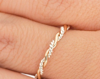 Twist Ring, Stacking Ring, Two Toned Ring, Midi Ring, Stacking Rings, Twisted Ring, Gold Stacker Ring, Stackable Ring, Rope Ring, Thumb Ring