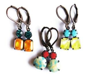 Small Bright Dangle Earrings