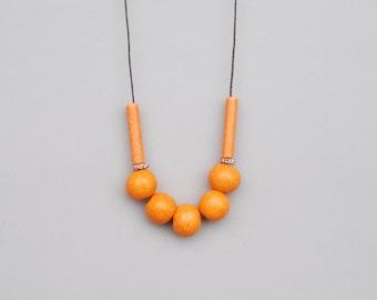 Orange Ceramic Necklace, Clay Necklace, Rustic Necklace, Statement Necklace
