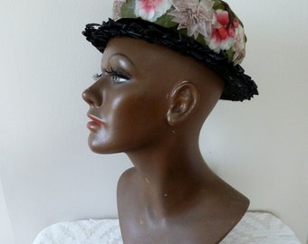 50's Netted Flowers Hat Black Woven Boater Tilt Hat