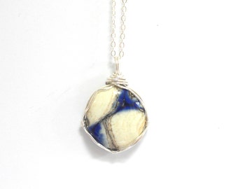 Long Sterling Silver Necklace with Blue and White Wire Wrapped Pendant
