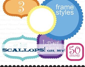 Circle digital frame clip art square frame clip art scallop clipart frame ornate onion : e0144 v301 black
