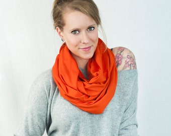 Orange Infinity Scarf, Jersey Circle Scarf, Cotton Scarves, Womens Accessory, Blaze Scarves, Winter Scarf, Unisex  Mens Scarf, Hunting Gift
