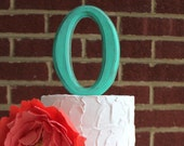 Rustic distressed wood letter initial wedding cake topper. O